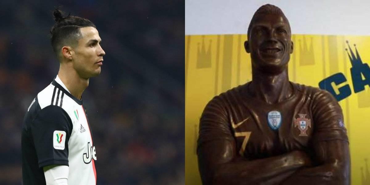 Cristiano Ronaldo es inmortalizado con estatua de chocolate