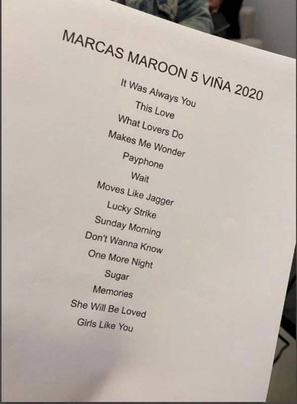 Canciones de Maroon 5 en Viña del Mar