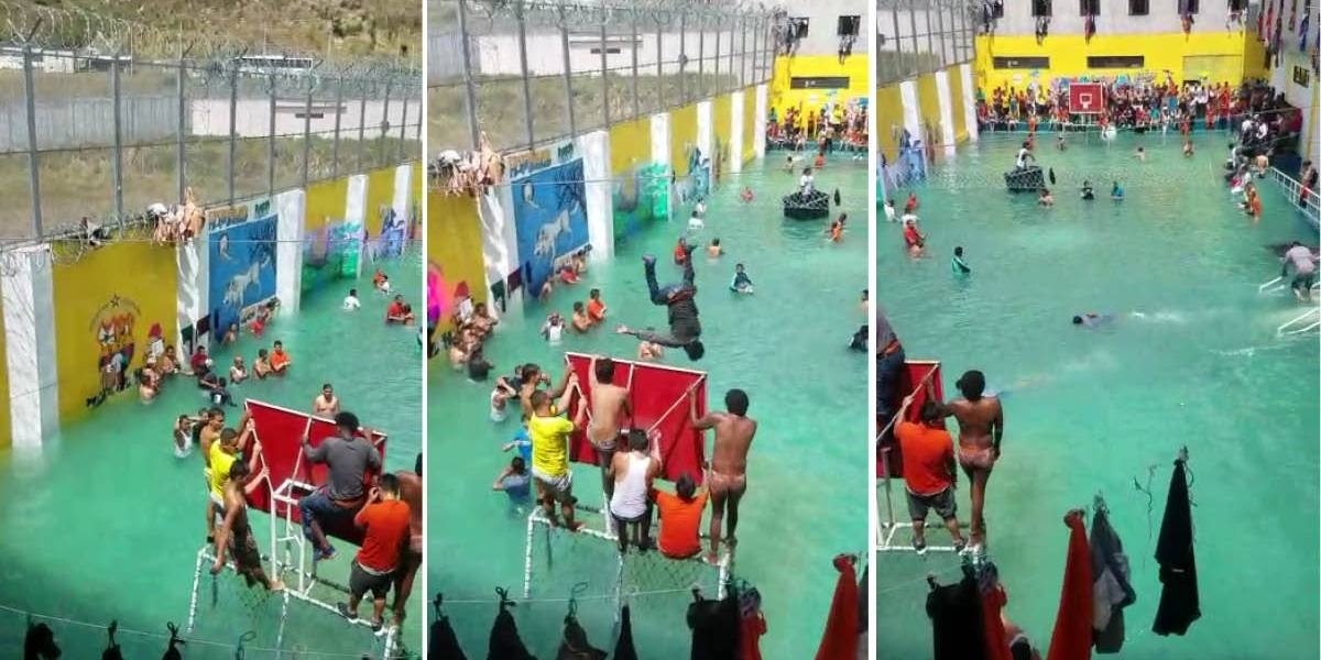 Ecuador: Reos convierten al patio de la cárcel de Turi en 'piscina'