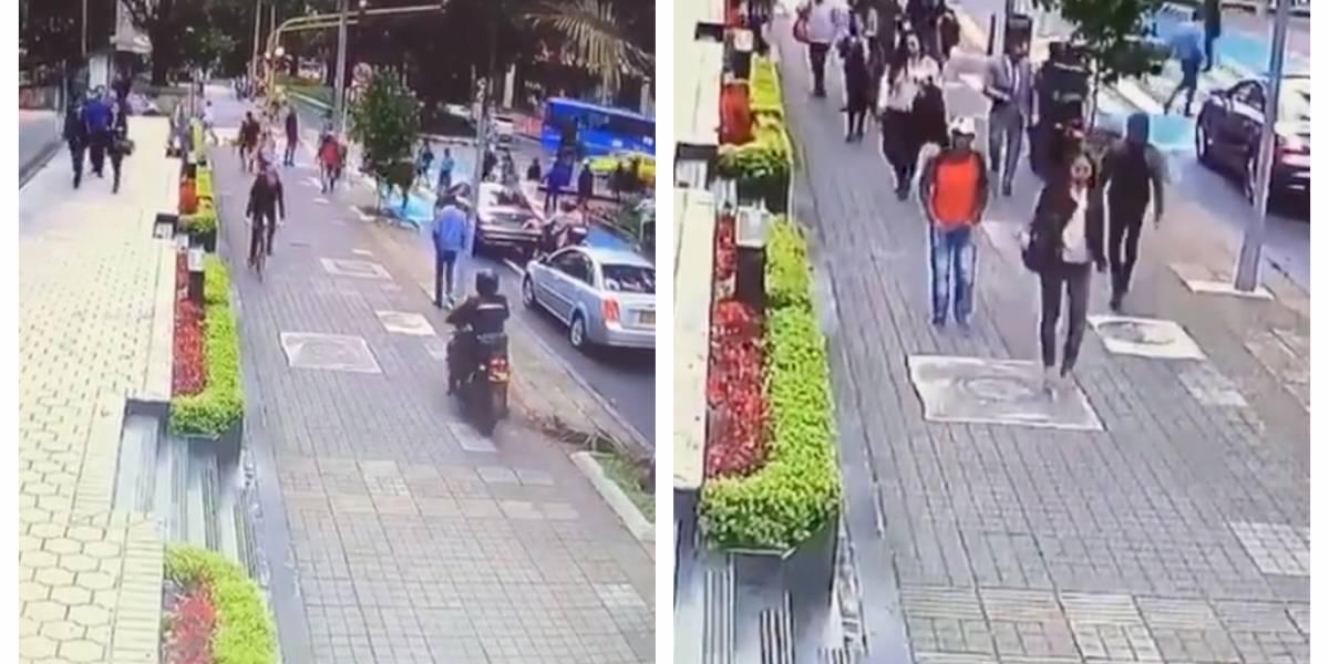 (VIDEO) La descarada modalidad de robo que delincuentes en moto están usando en Bogotá