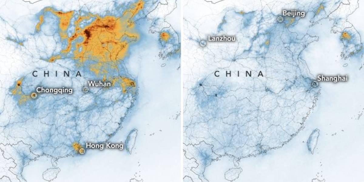 Contaminación del aire en China disminuye por el coronavirus