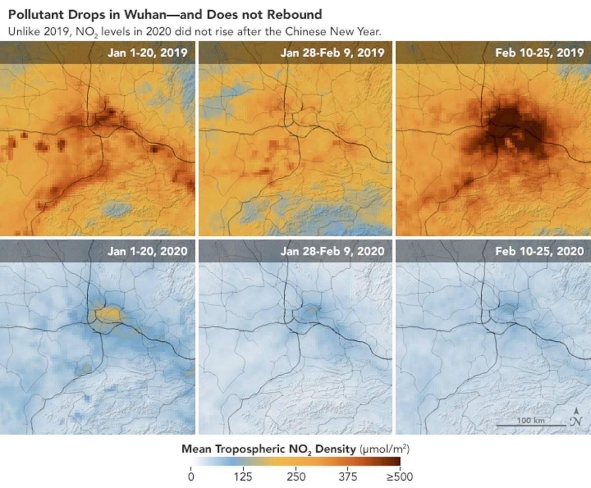 Nasa revela disminución de contaminación en China por el coronavirus