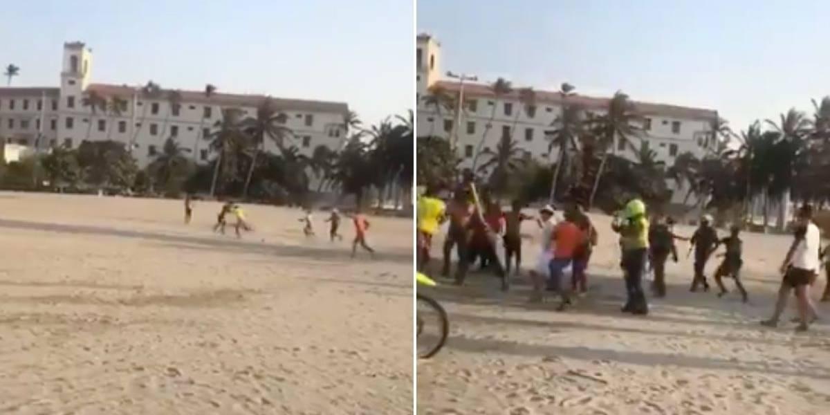 (VIDEO) Batalla campal entre los comerciantes en playa de Cartagena