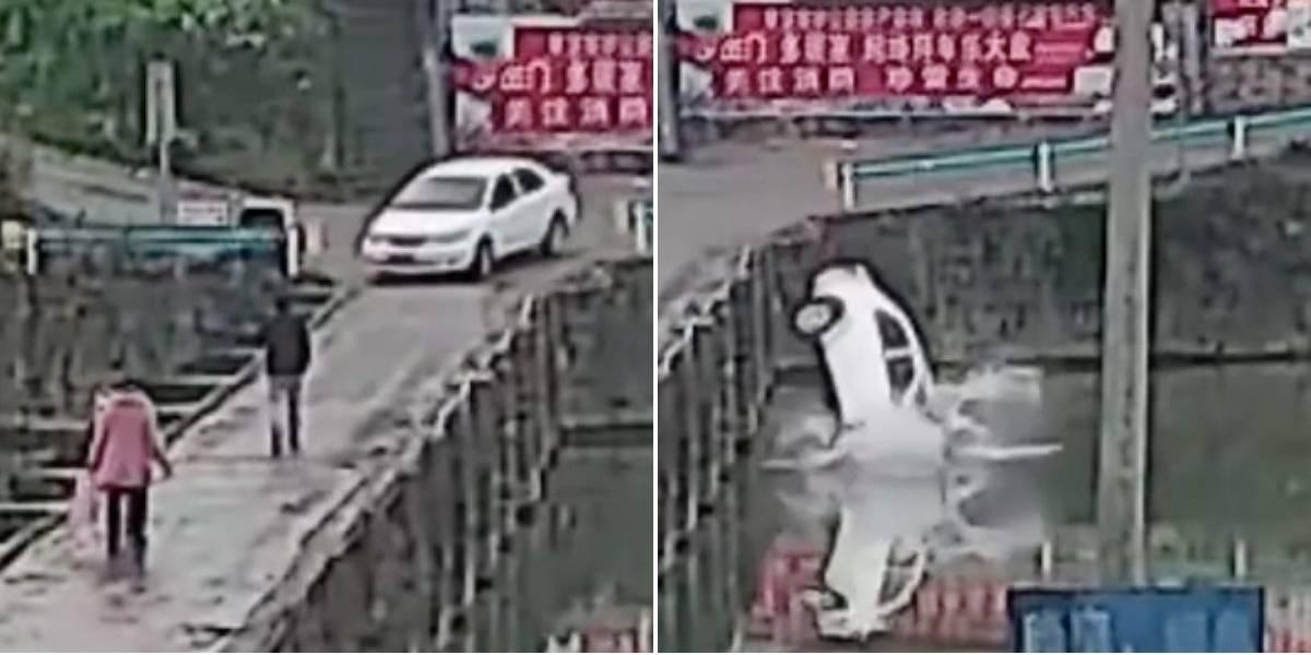 (VIDEO) Torpe conductor cayó con su carro al río cuando lo estrenaba