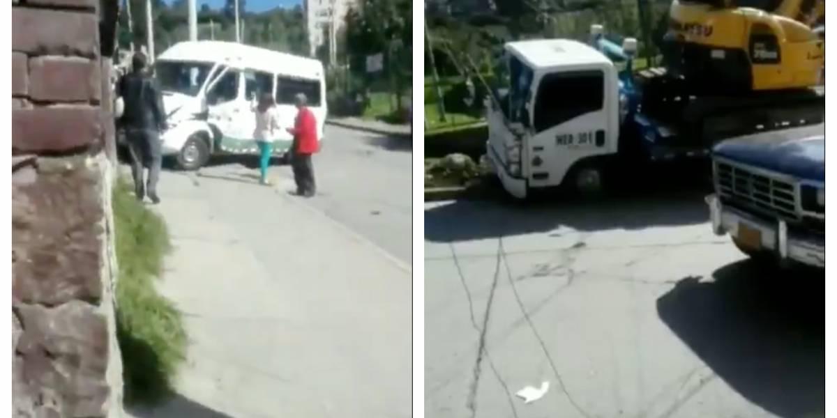 (VIDEO) Accidente entre bus escolar y retroexcavadora deja varios niños heridos en Bogotá