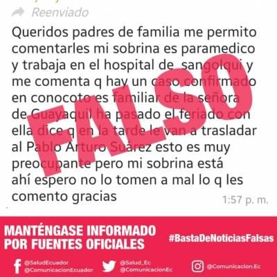 Noticias falsas coronavirus en Ecuador