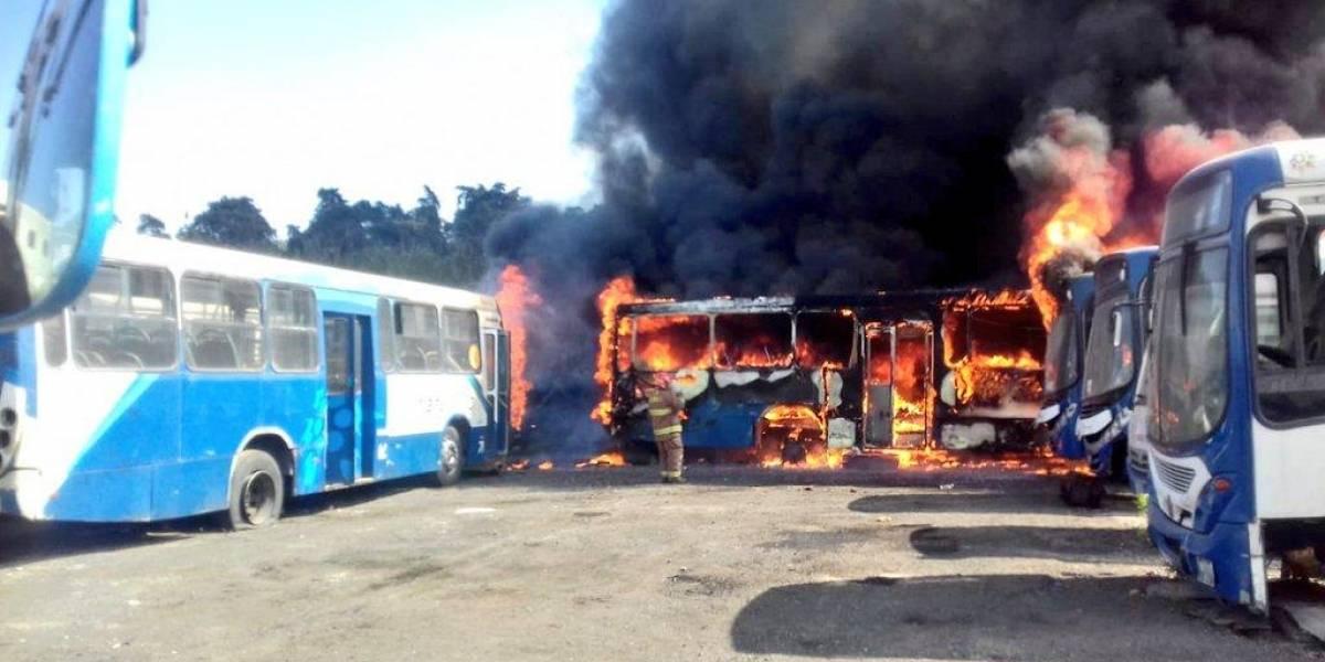 EN IMÁGENES. Incendio en predio consume Transurbanos
