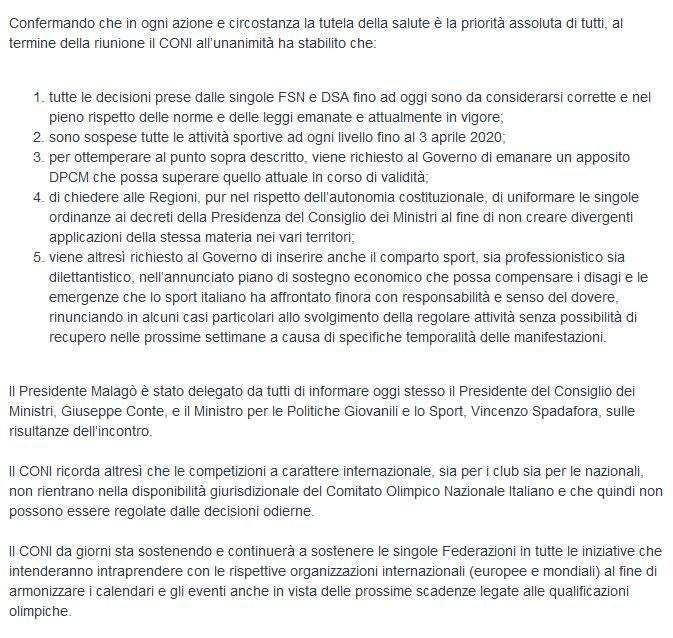 Comunicado del Comité Olímpico Italiano sobre las competiciones internacionales