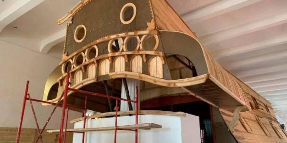 Construyen réplica de popa a gran escala del Galeón San José en Cartagena