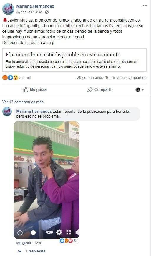 Perfil de Facebook Mariana Hernández