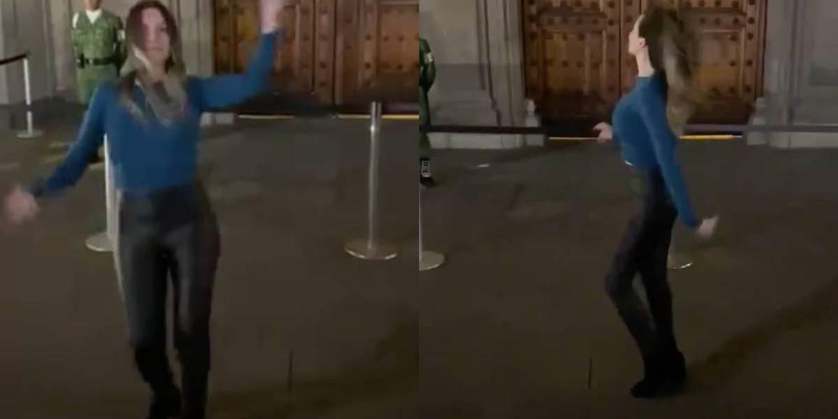 ¿Sería una protesta?: mujer se hizo viral por bailar 'Tusa' frente a la sede de gobierno de México