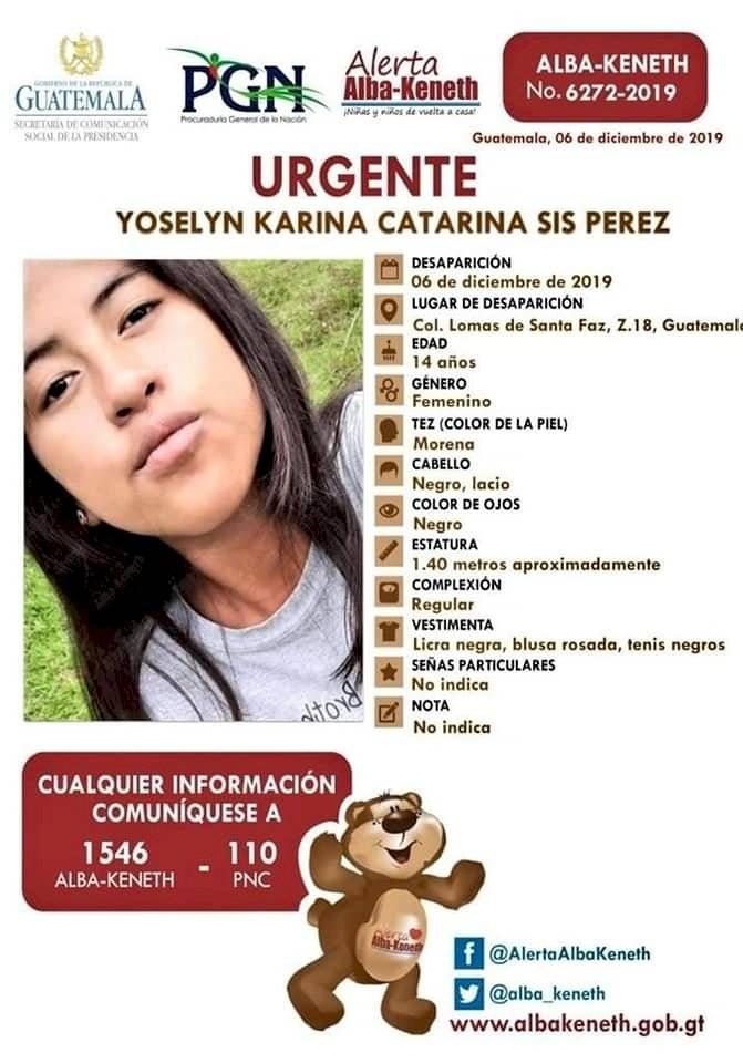 Capturan a un hombre por el crimen de la adolescente Yoselin Sis Pérez. Foto: Alerta Alba-Keneth