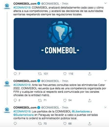 Error Conmebol comunicación oficial de Conmebol sobre coronavirus para Eliminatorias