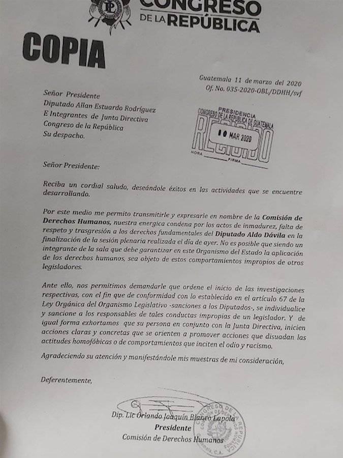 Carta enviada al presidente del Congreso, Allan Rodríguez