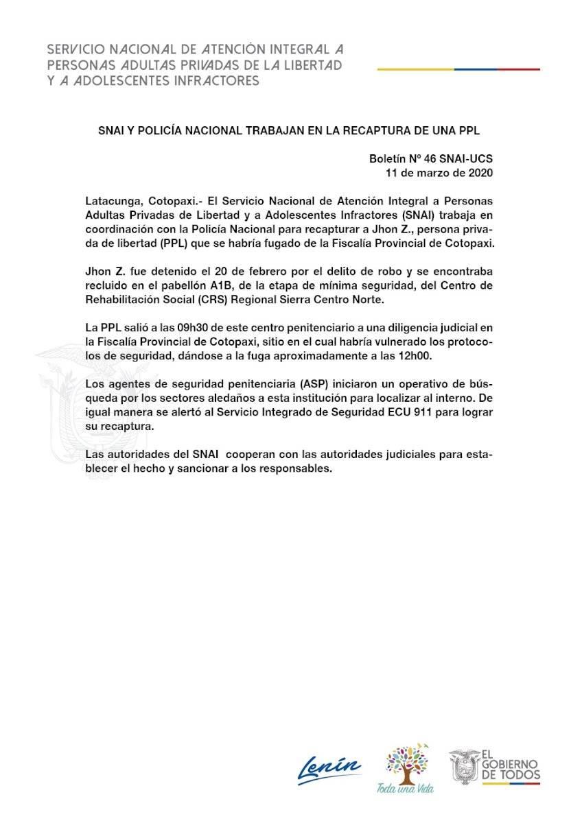 Un procesado por robo se escapó de la Fiscalía de Cotopaxi