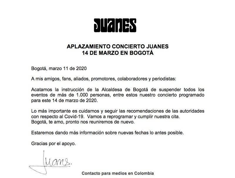 Los tres conciertos que se cancelaron en Bogotá este fin de semana como medida contra el coronavirus