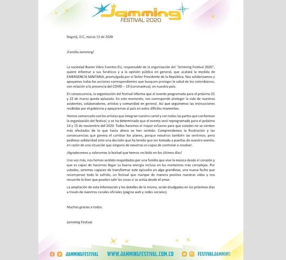 Jamming Festival cancelado por coronavirus