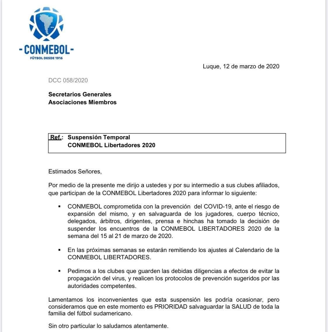 Conmebol suspende Libertadores