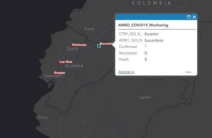 Mapa de la OMS detalla los casos de coronavirus en Ecuador Captura de pantalla