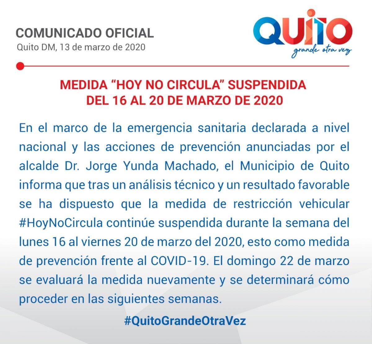 """""""Hoy No Circula"""" no regirá desde el 16 al 20 de marzo"""