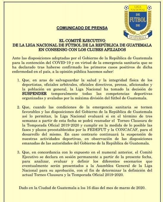 Comunicado de la Liga Nacional sobre suspensión del Clausura 2020