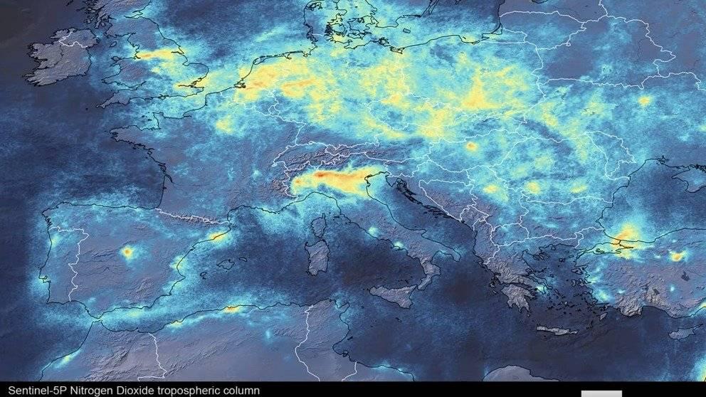 Coronavirus: imágenes satelitales muestran como ha disminuido contaminación en Italia por la cuarentena