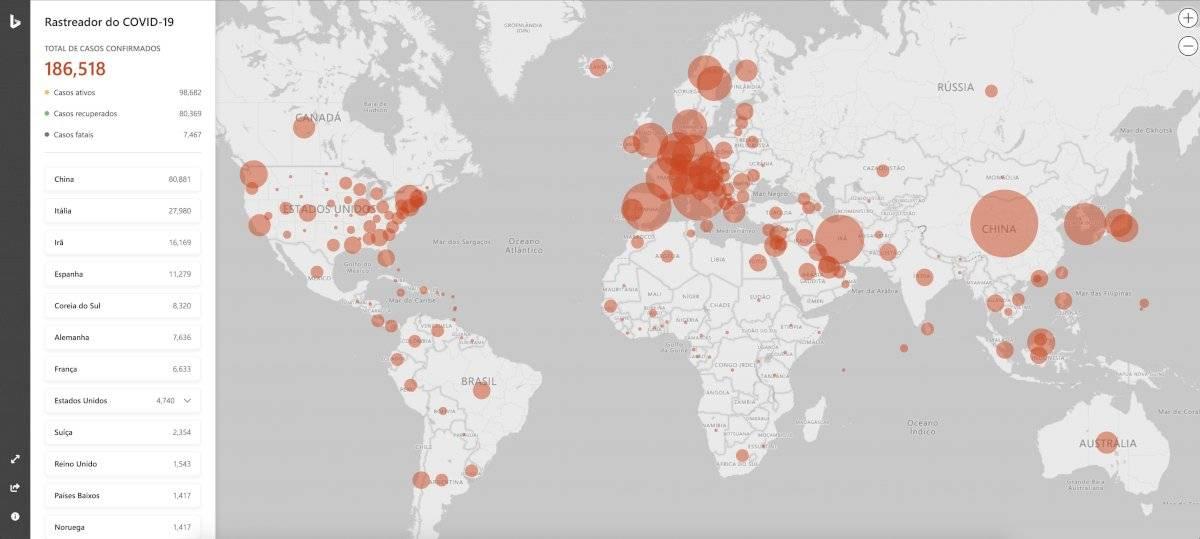 Bing - mapa coronavírus