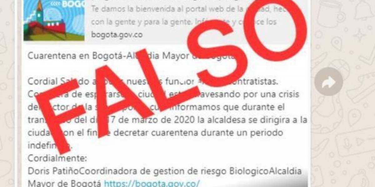 No caiga en la falsa información sobre cuarentena por coronavirus en Bogotá