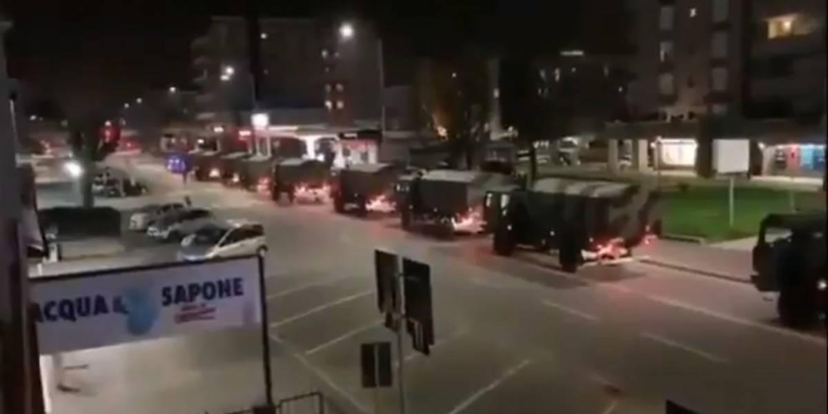 El Ejército de Italia traslada los atáudes de Bérgamo a otras localidades