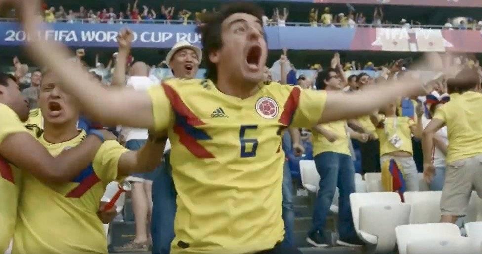 La celebración del gol de Yerry Mina, que significaba la clasificación a los octavos de final