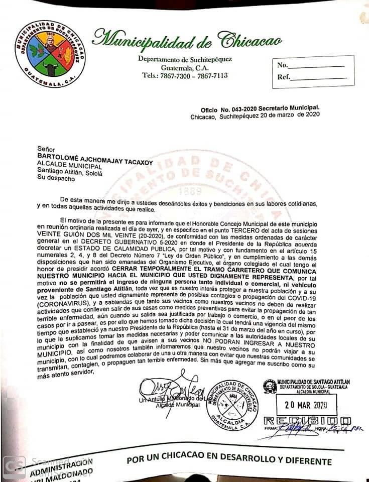 Oficio publicado por la Municipalidad de Chicacao