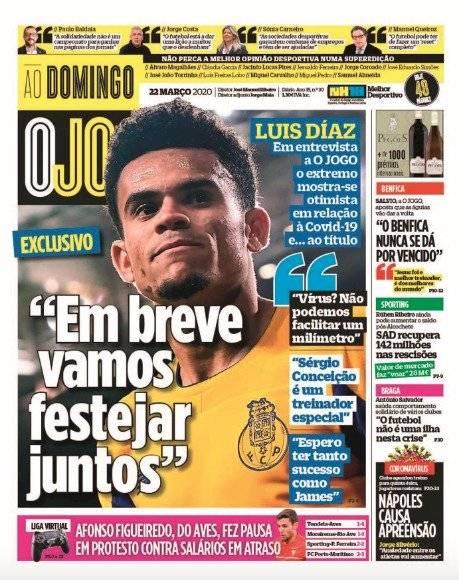 Luis Díaz, portada O Jogo domingo 22 marzo de 2020