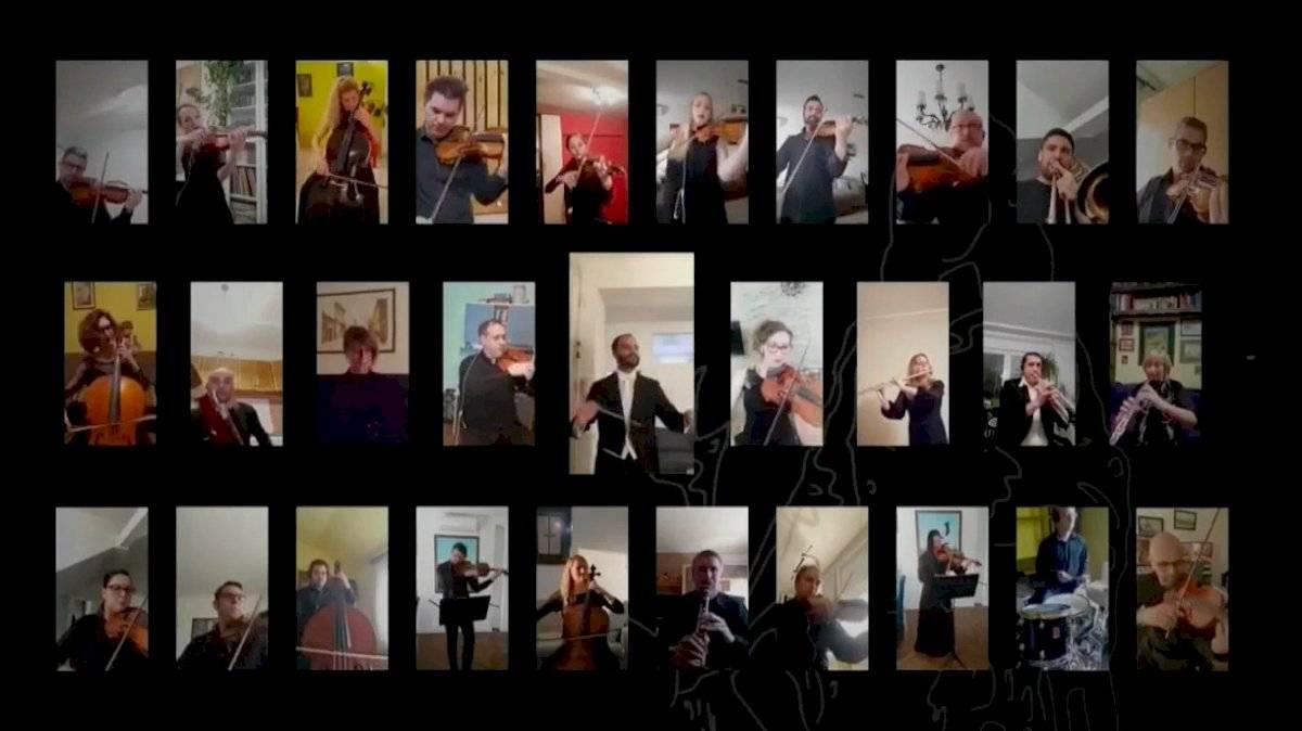 Músicos de Serbia dan mensaje online
