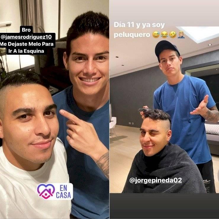 James Rodríguez cortó el pelo a amigo en la cuarentena