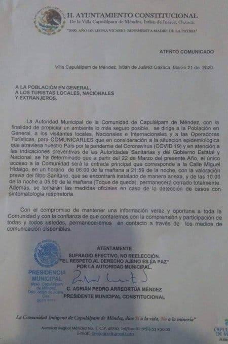 Toque de queda Oaxaca