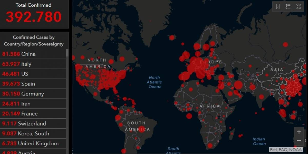 Chile se encuentra entre los 30 países con más casos de coronavirus en el mundo