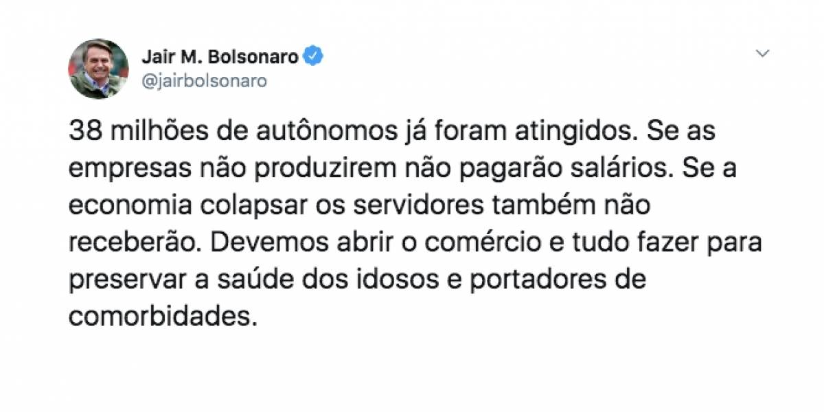 Bolsonaro volta a criticar medidas de isolamento contra coronavírus
