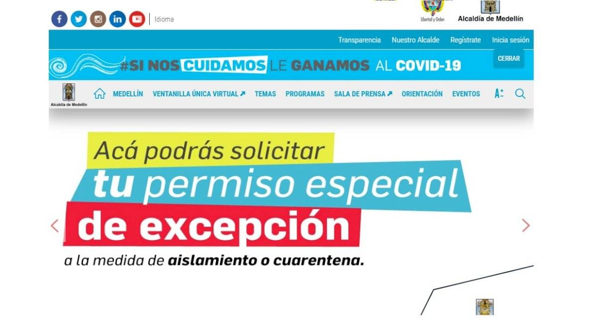 Permiso especial cuarentena Medellín