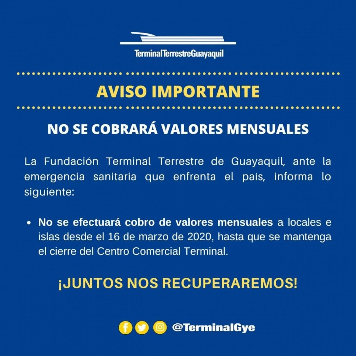 Terminal Terrestre de Guayaquil no cobrará mensualidades a locales e islas