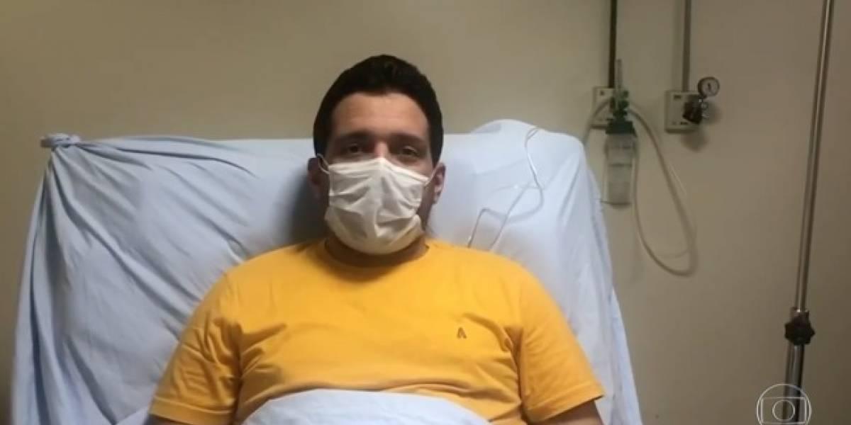 Marcelo Magno, âncora do 'Jornal Nacional', comemora melhora do coronavírus com vídeo no hospital