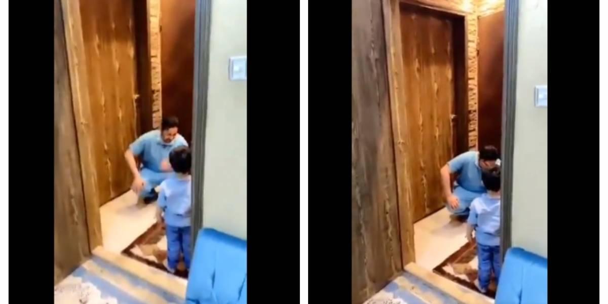 Médico rompe en llanto tras negarle abrazo a su hijo VIDEO — Coronavirus