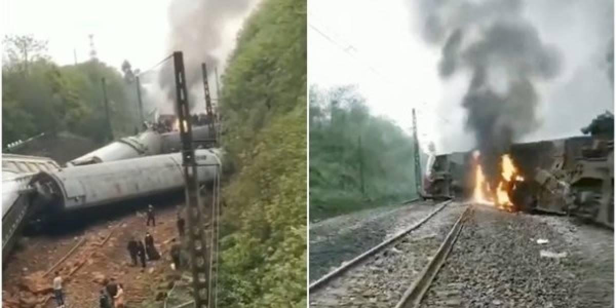 China: tren descarrila y se incendia en medio de las vías