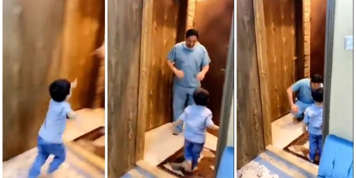 El desgarrador momento de un médico que rompe en llanto al no poder abrazar a su hijo