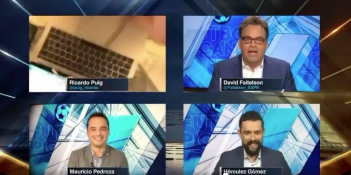 Presentador de ESPN sufre incómodo momento trabajando desde casa ¡Video!