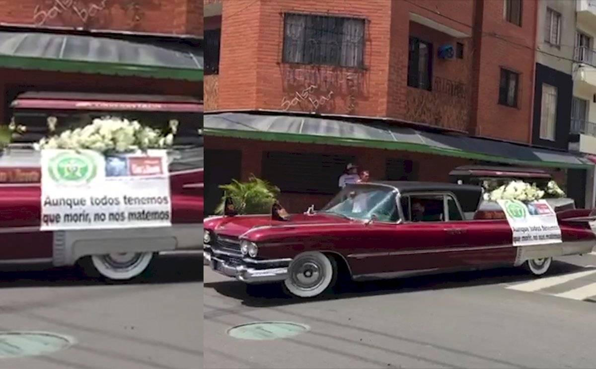 Carro fúnebre recorre las calles de Medellín y pide a los ciudadanos permanecer en casa por COVID-19
