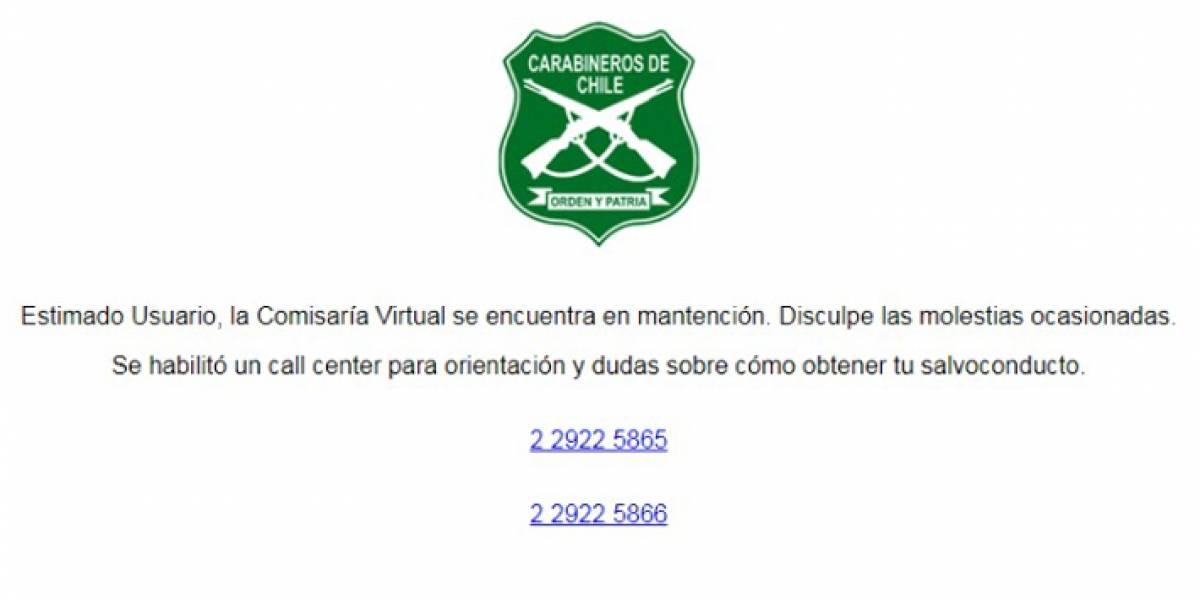 Otra vez con fallas: Carabineros reporta intermitencia de Comisaría Virtual