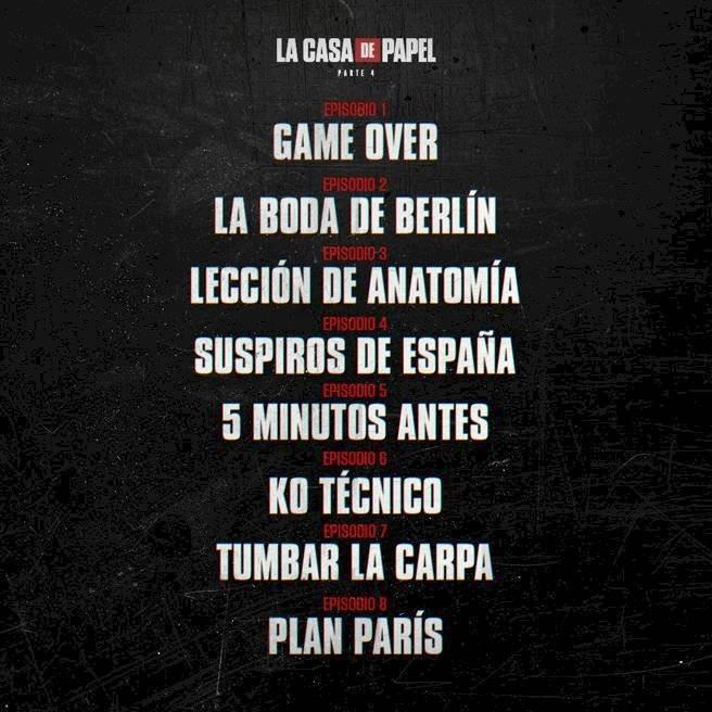 """Los títulos de los capítulos de la temporada 4 de """"La Casa de Papel"""" / Foto: Netflix"""
