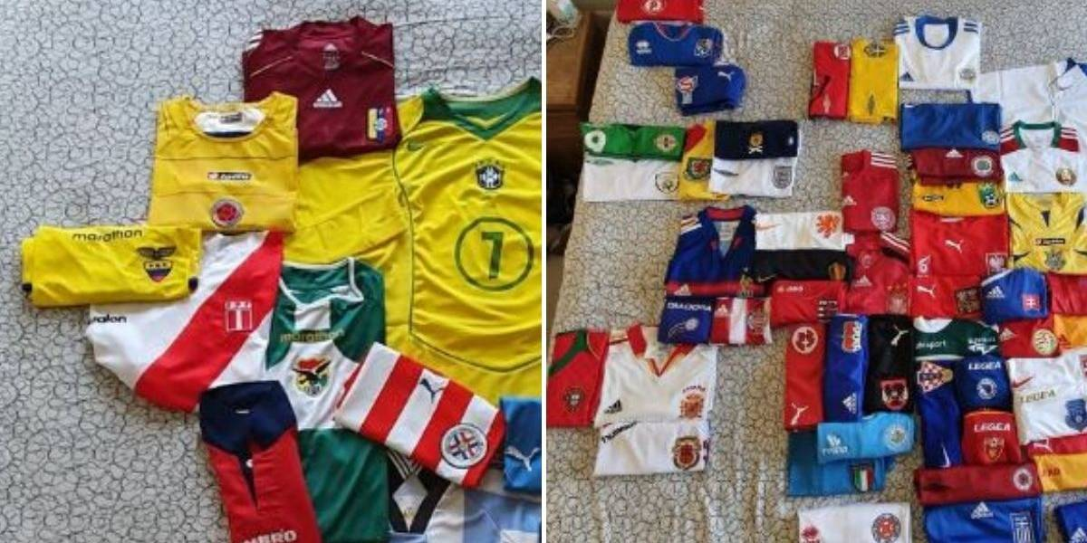 Hombre armó mapamundi con camisetas de fútbol de todos los países