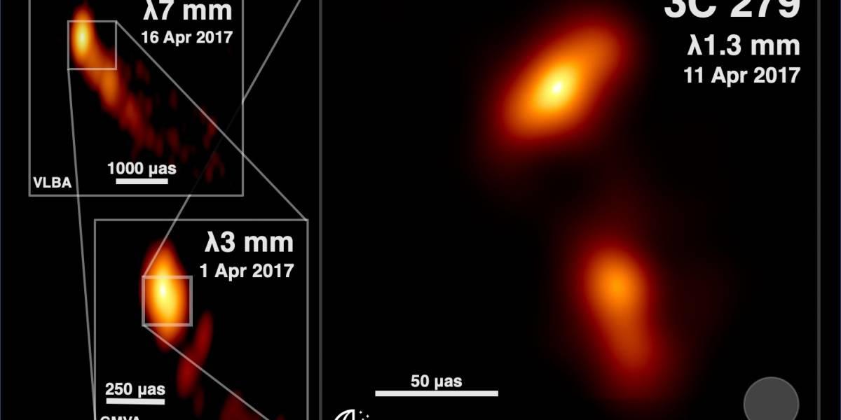 Telescópio captura foto de jato de plasma saindo de um buraco negro