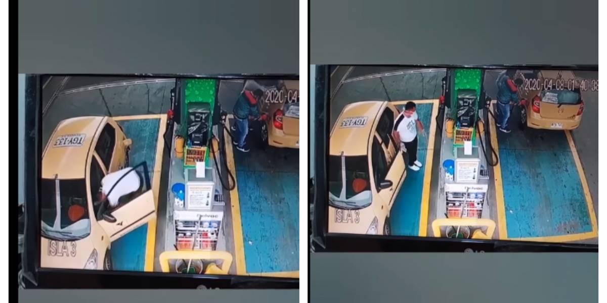 (VIDEO) Captan taxista robando descaradamente en estación de gasolina en Bogotá